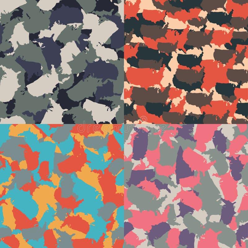 Camuflagem urbana colorida de América Grupo de teste padrão sem emenda do camo da forma dos EUA Matéria têxtil da tela do vetor A ilustração royalty free