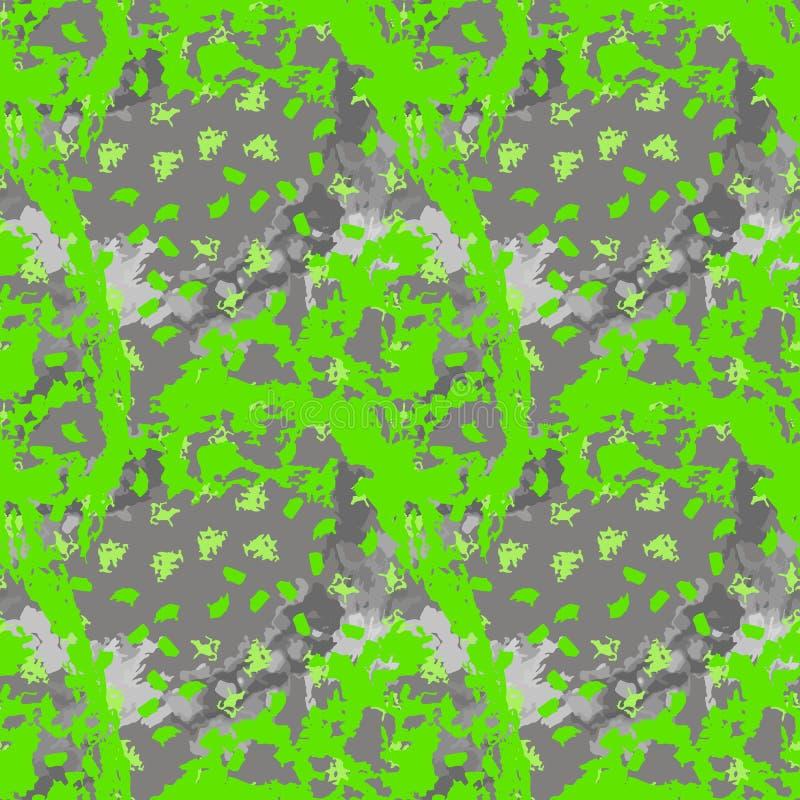 A camuflagem verde e cinzenta de néon do UFO é um teste padrão sem emenda brilhante ilustração stock