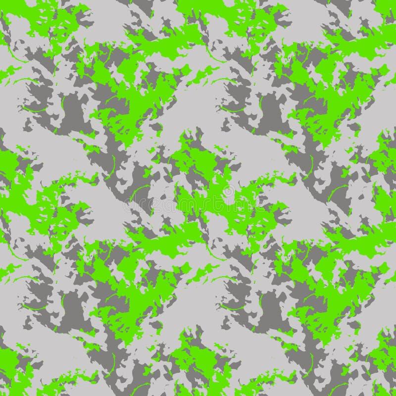 A camuflagem verde e cinzenta de néon do UFO é um teste padrão sem emenda brilhante ilustração royalty free