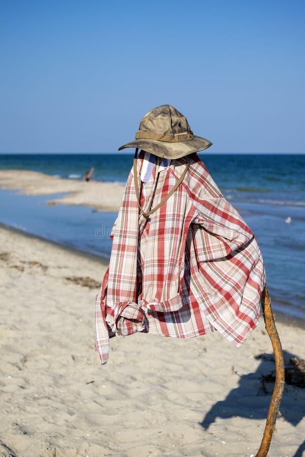 Camufle la camisa del sombrero y de tela escocesa en un polo contra el contexto de un litoral imagen de archivo