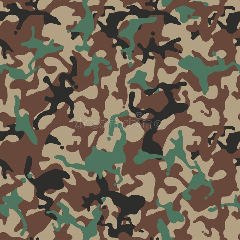 Camufle o teste padrão Uniforme militar verde Textura de Camo, fundo sem emenda do vetor ilustração stock