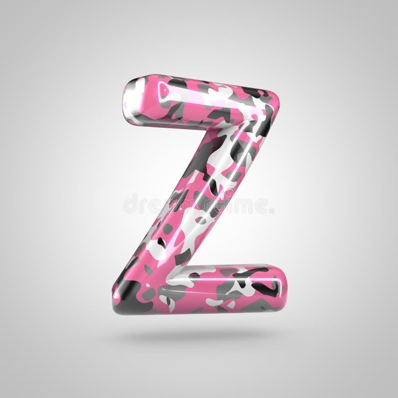 Camufle o uppercase da letra Z com o teste padrão cor-de-rosa, cinzento, preto e branco da camuflagem isolado no fundo branco ilustração royalty free