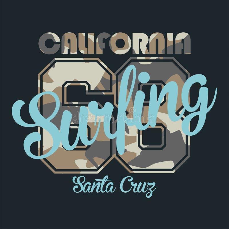 Camufle a tipografia para a roupa dos surfistas com a rotulação que surfa, Califórnia, Santa Cruz, 68 ilustração royalty free