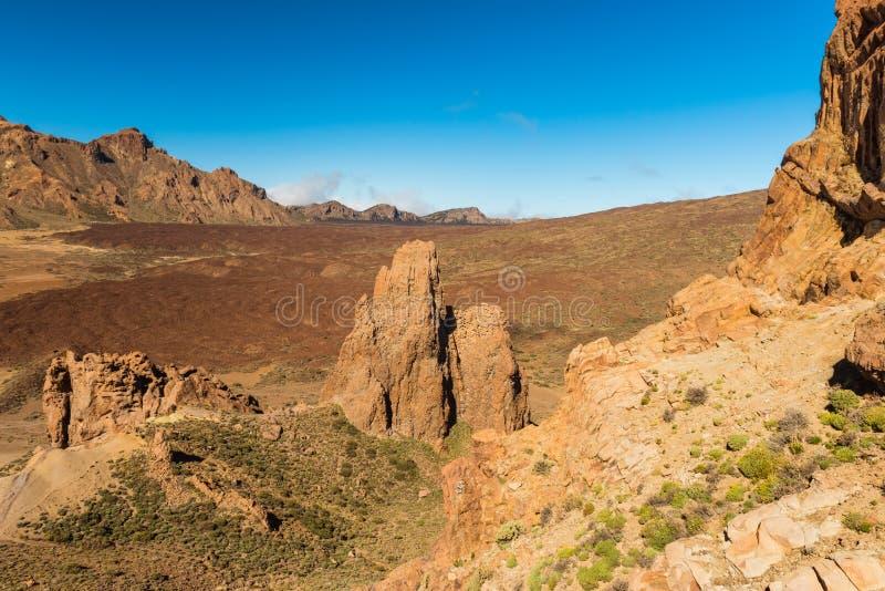 Canário de Tenerife do vulcão de Teide da paisagem da lava foto de stock