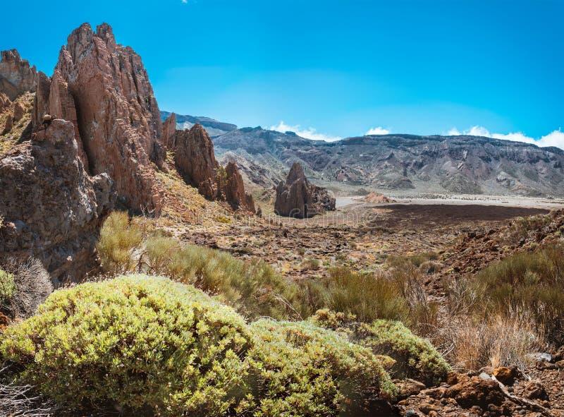 Canário de Tenerife do vulcão de Teide da paisagem da lava fotografia de stock royalty free