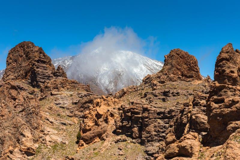 Canário de Tenerife do vulcão de Teide da paisagem da lava imagens de stock