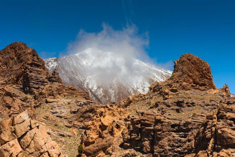 Canário de Tenerife do vulcão de Teide da paisagem da lava foto de stock royalty free