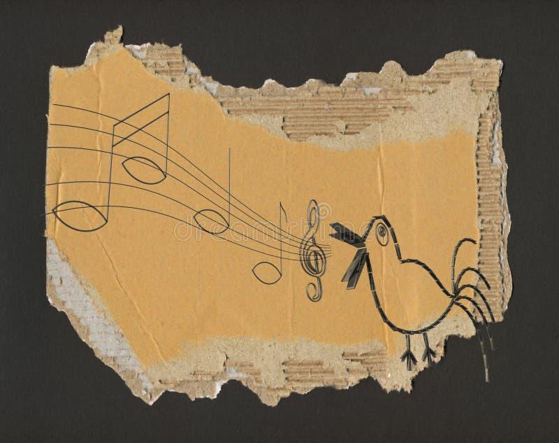Canção do pássaro, grunge ilustração do vetor