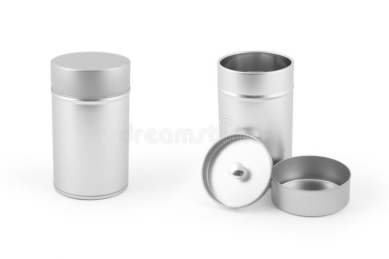 Can. Metalic can for food/drug storage stock photography