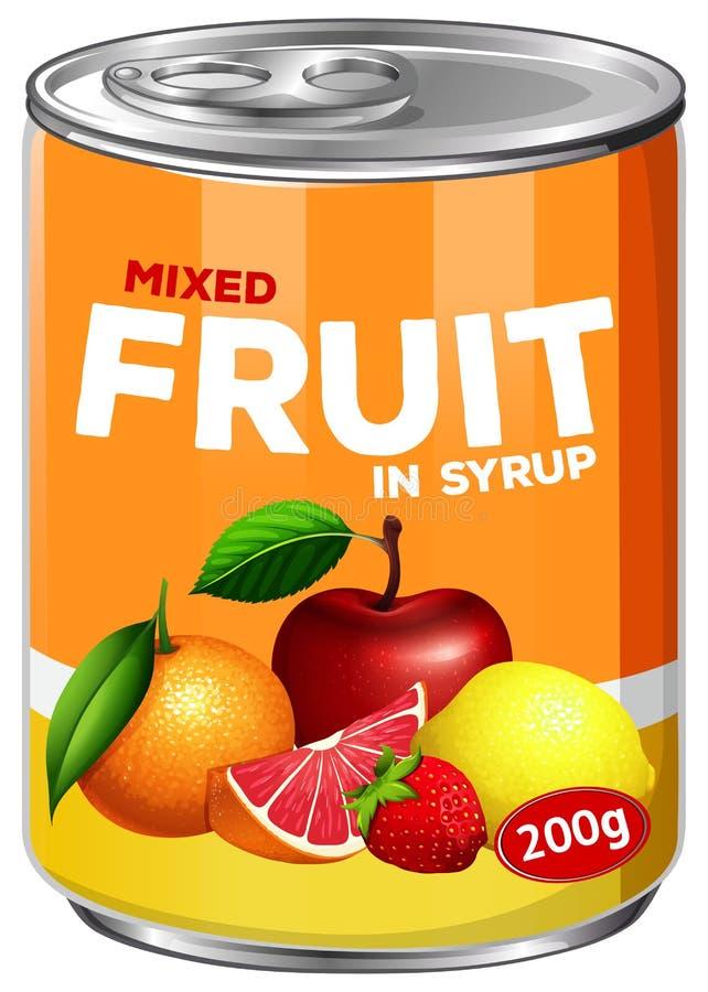 A-can av blandad frukt i sirap stock illustrationer