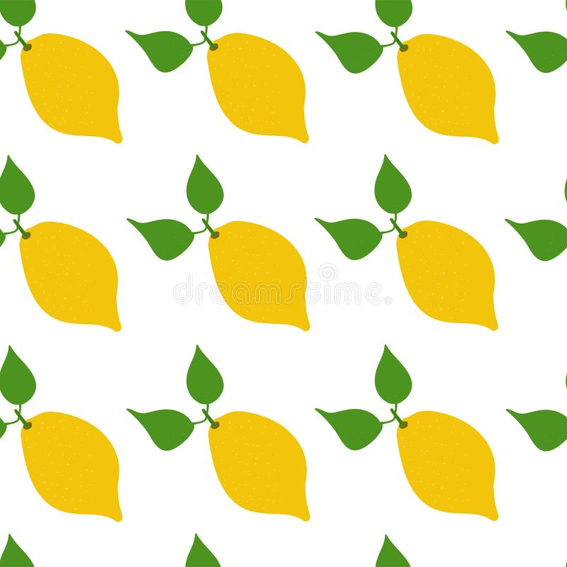 Seamless vector hand drawn pattern with lemon. royalty free stock photography
