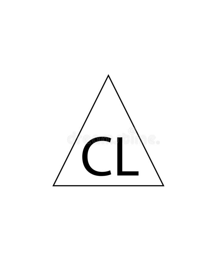 Can be used for bleaching chlorine products sign. Triangle Chlorine sign. Symbol for the care of clothing. In the triangle of the letter CL stock illustration