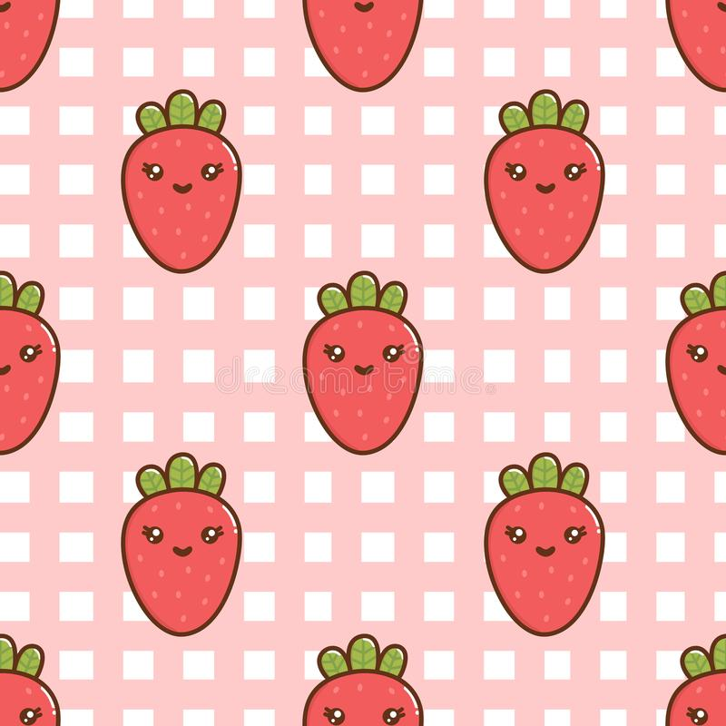 Seamless pattern with сute strawberry with a smile, on a pink cage tablecloth. royalty free illustration
