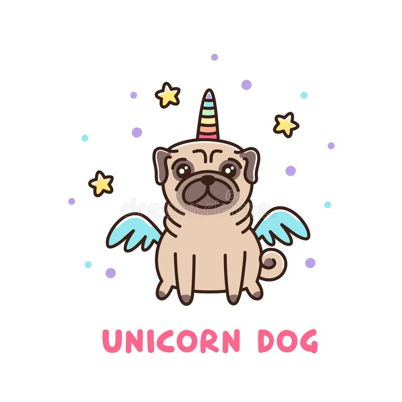 Cute dog of pug breed in a unicorn costume. vector illustration
