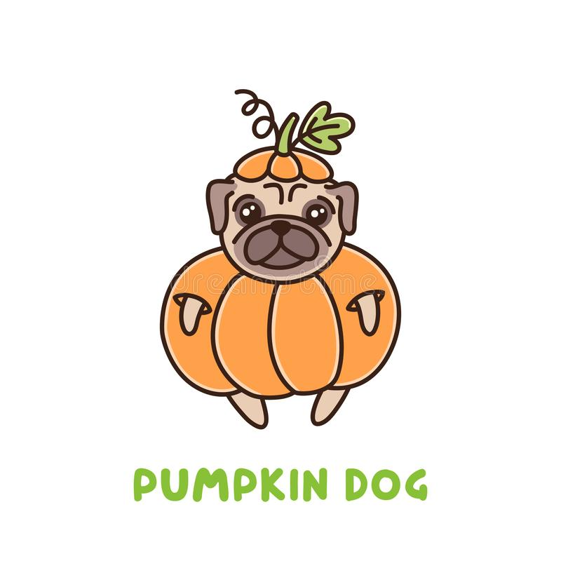 Cute dog of pug breed in a pumpkin costume. It can be used for sticker, patch, phone case, poster, t-shirt, mug and other design. For Thanksgiving or Halloween vector illustration