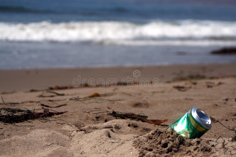 Can at the beach royalty free stock photo