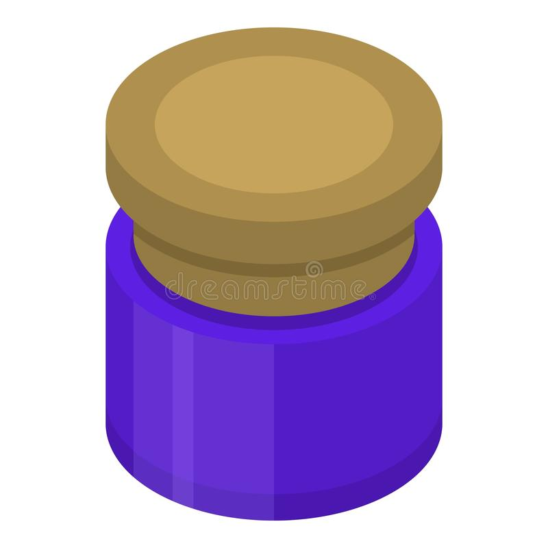 Can of blue gouache icon, isometric style. Can of blue gouache icon. Isometric of can of blue gouache vector icon for web design isolated on white background royalty free illustration