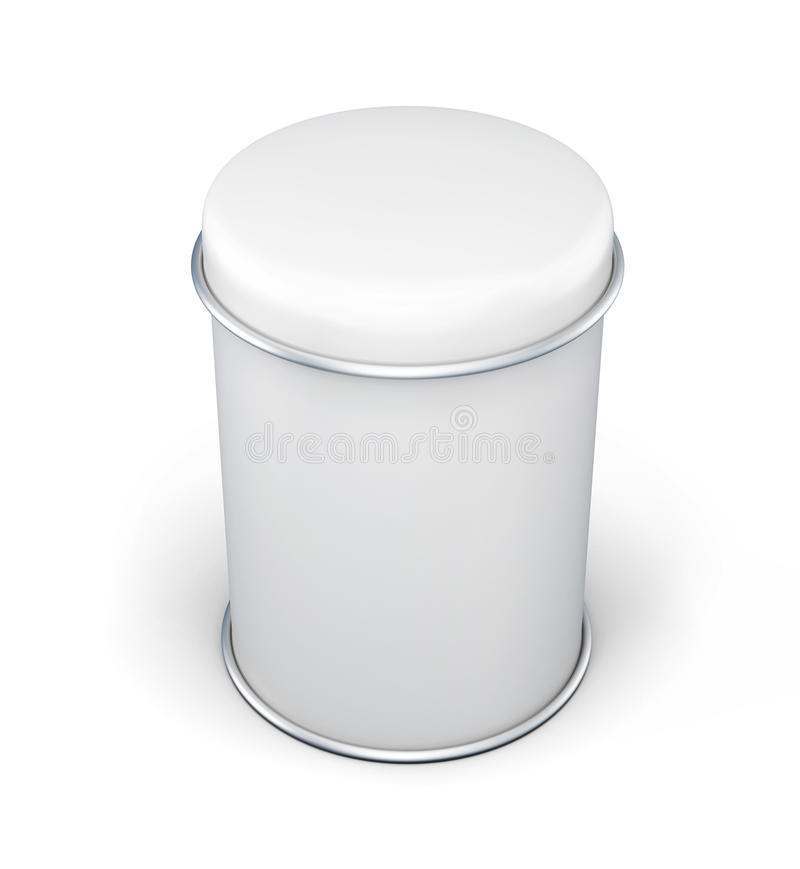 Can for bulk products. White tin box packaging container for tea. Or coffee. 3d rendering vector illustration