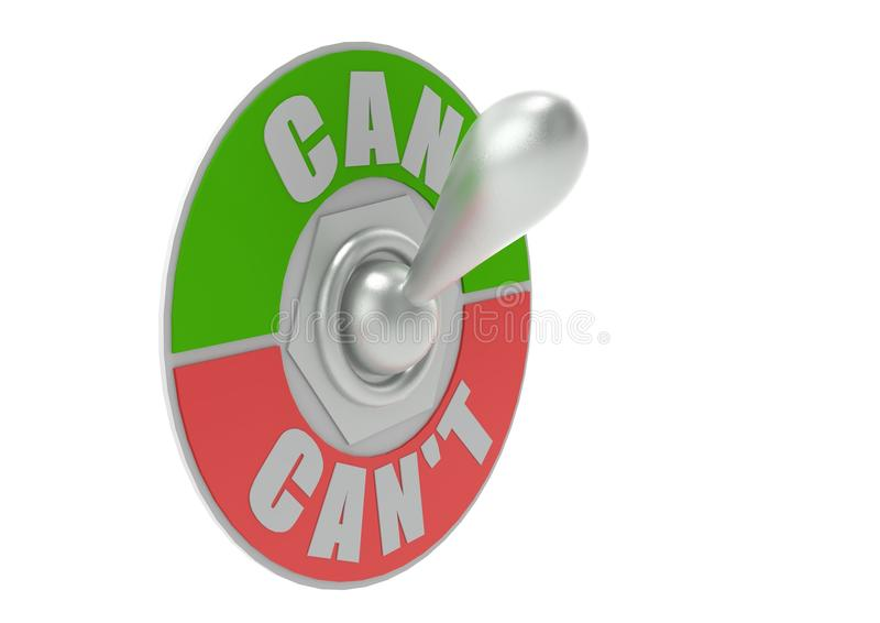 Can or Can t Toggle Switch vector illustration