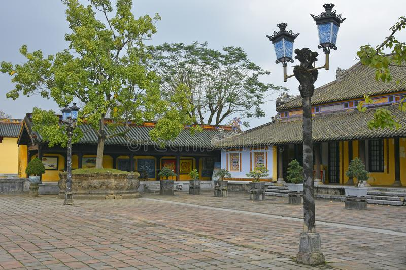 Can Chanh Palace Courtyard stock photo