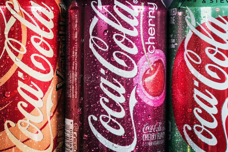 Can Coca-Cola drink with different flavor are available stock image
