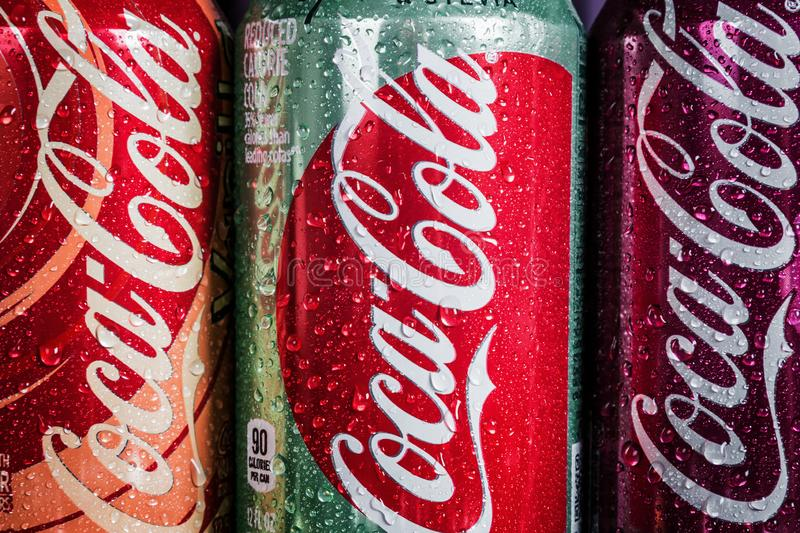 Can Coca-Cola drink with different flavor are available royalty free stock photography