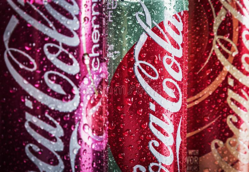 Can Coca-Cola drink with different flavor are available royalty free stock images