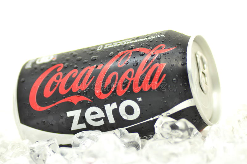 Can of Coca-Cola Zero drink on ice. Coca-Cola Zero is low-calorie kind of Coca-Cola produced by Coca-Cola Company. Coca-Cola Zero was introduced in 2005 stock image