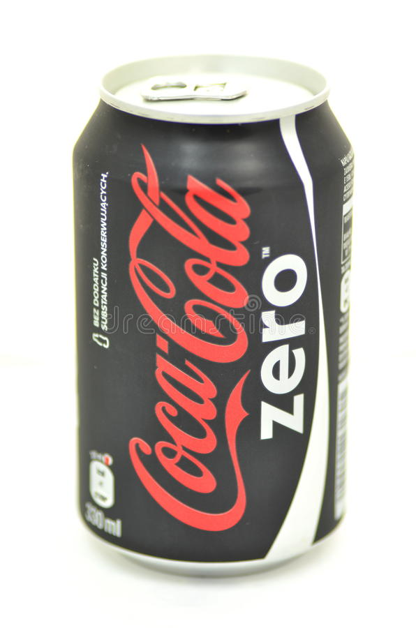 Can of Coca-Cola Zero drink isolated on white background. Coca-Cola Zero is low-calorie kind of Coca-Cola produced by Coca-Cola Company. Coca-Cola Zero was royalty free stock images