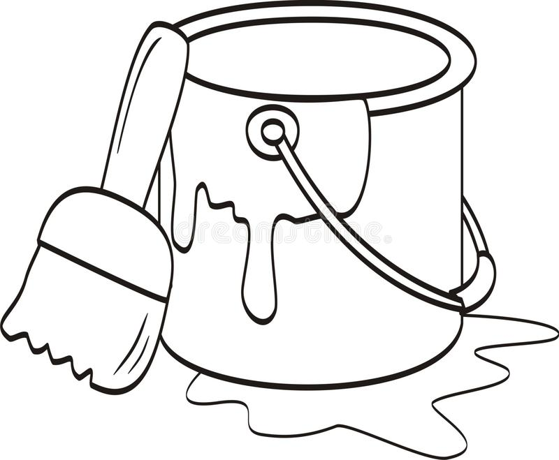 Bucket Of Paint And Brush Icon Vector Stock Illustration ...