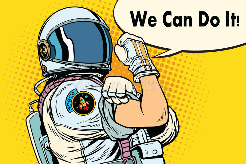 We can do it astronaut vector illustration