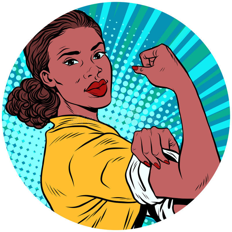 We can do it black woman African American pop art avatar charact. Er round icon. retro vector illustration vector illustration