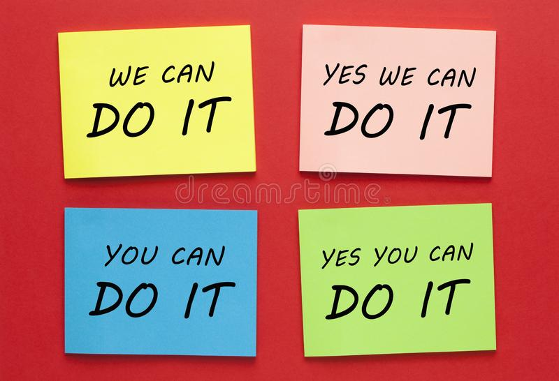 We Can Do It Labels stock photo