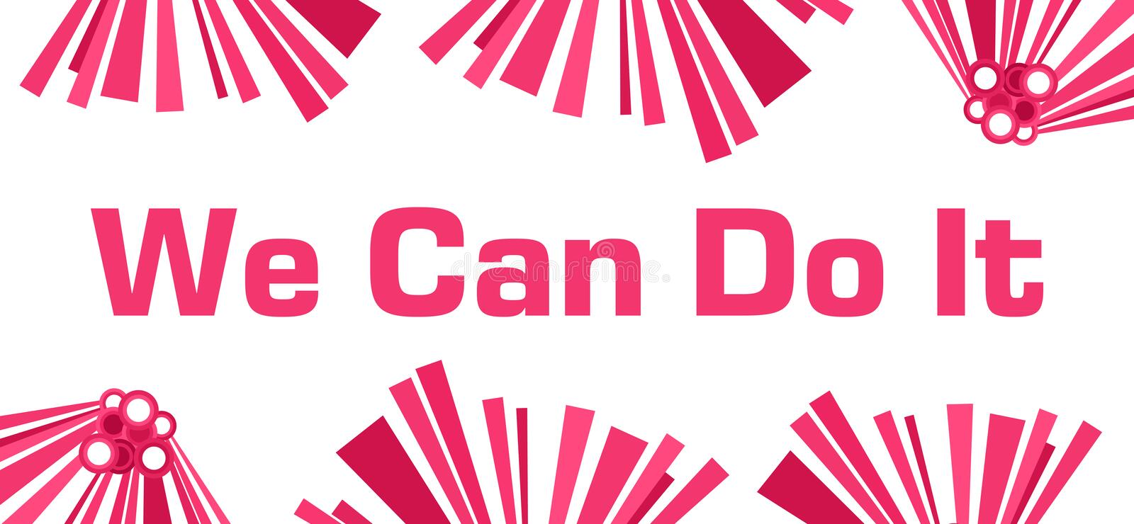 We Can Do It Pink Abstract White royalty free illustration