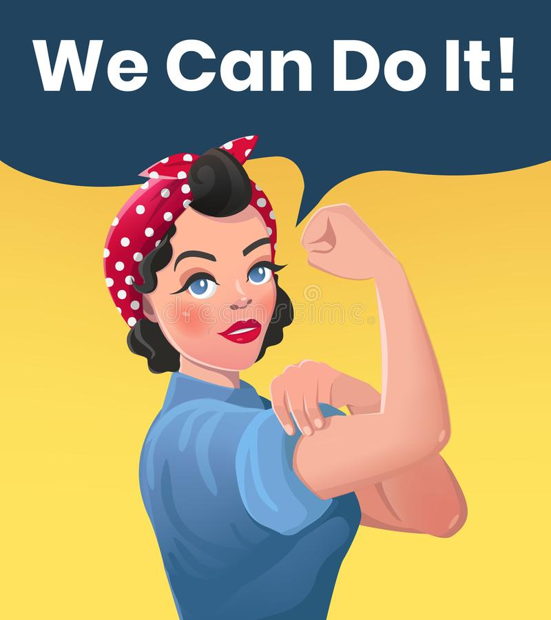 We Can Do It Poster Illustration. Vector Style Strong Brunette Girl. Classical American Symbol of Female Power, Solidarity, Human Rights, Protest, Feminism royalty free illustration