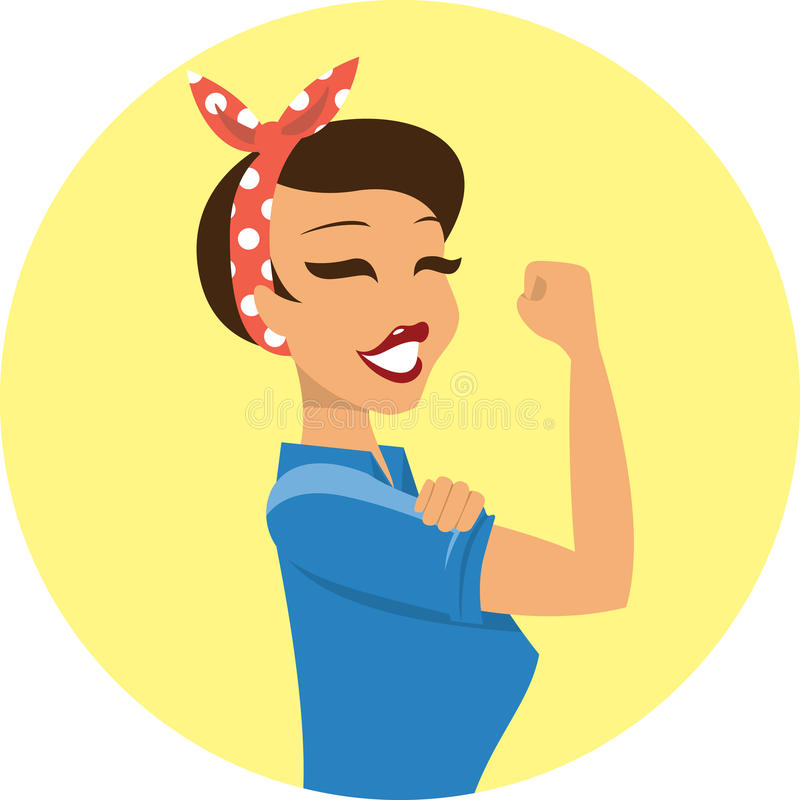 Can Do It. We Can Do It symbol of female power vector illustration