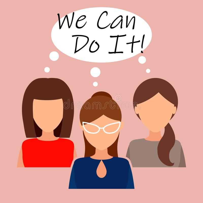 We Can Do It. Symbol of female power, woman rights, protest, feminism. Vector royalty free illustration