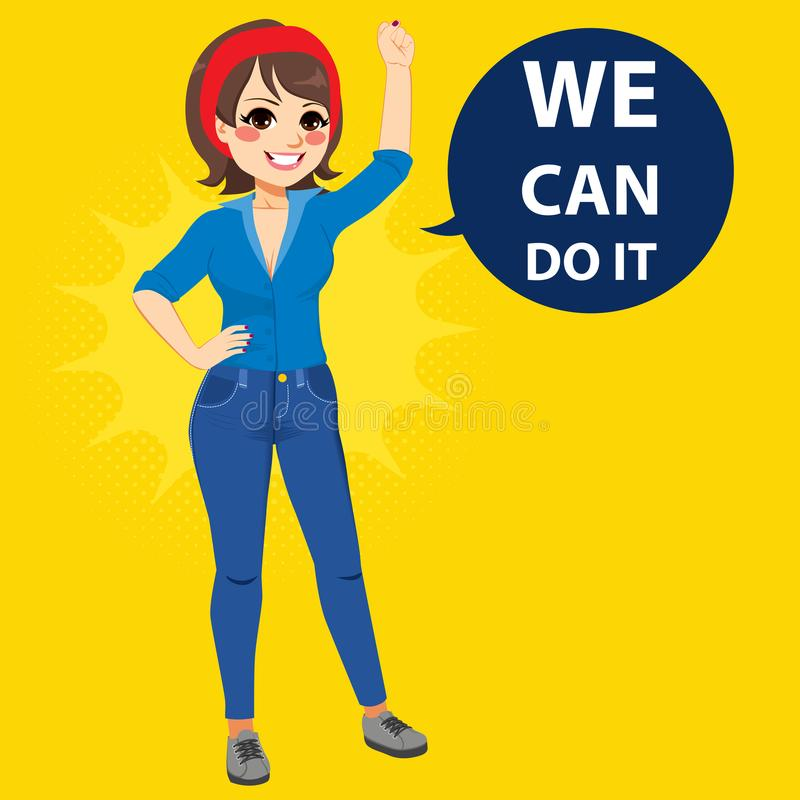 We Can Do It Woman. Beautiful young empowered woman wearing blue shirt and jeans with fist up attitude we can do it balloon text vector illustration