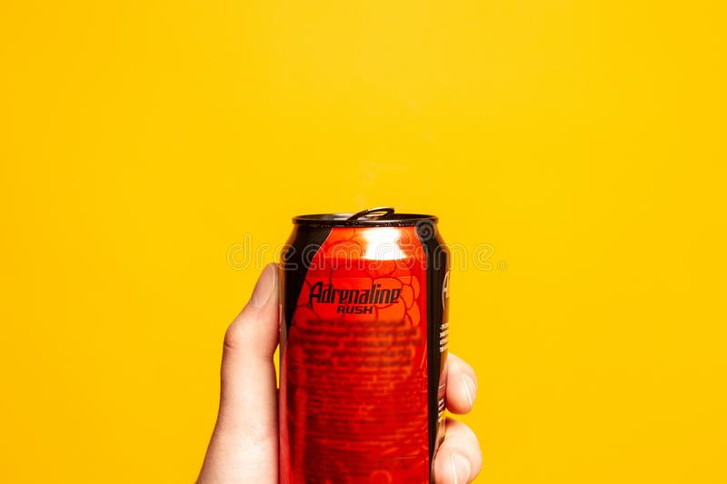 Can of energy drink Adrenaline Rush royalty free stock photos