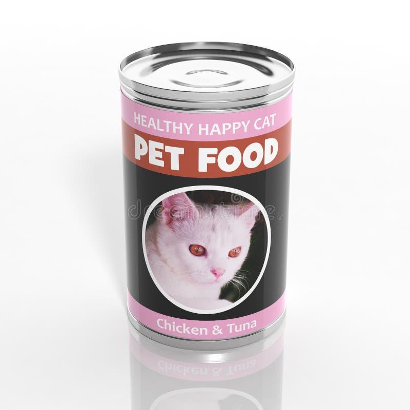 can för mat för katt 3D metallisk vektor illustrationer