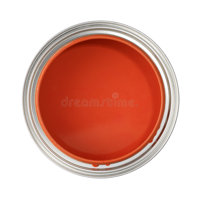 Can filled with red paint royalty free stock images
