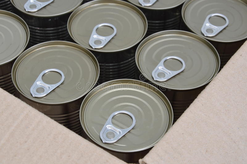 Can food in the box. Tin can food in the box royalty free stock photos