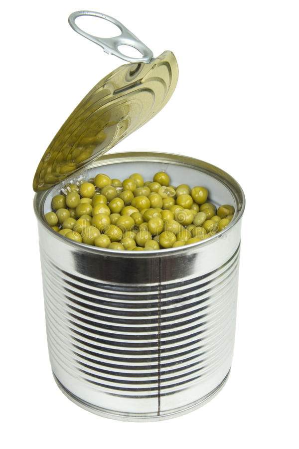 Can with green peas royalty free stock image
