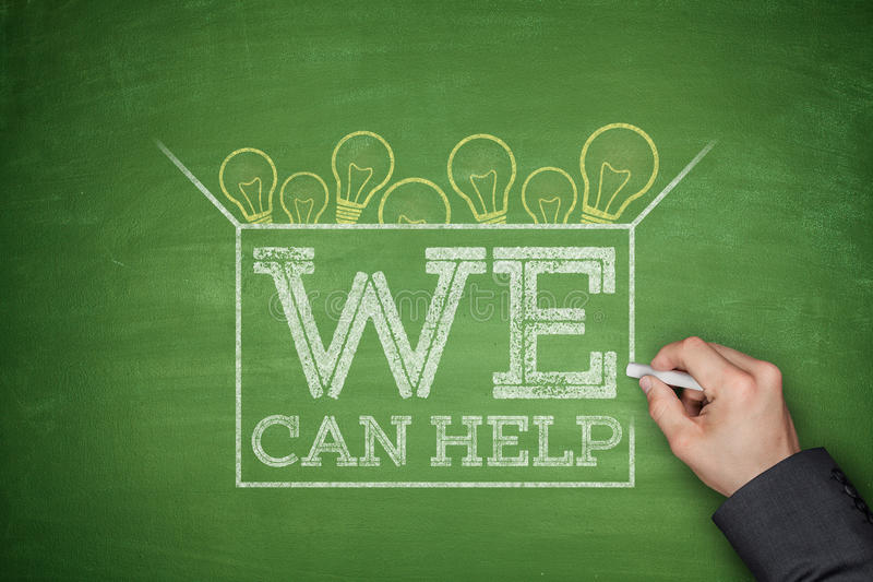 We can help on blackboard. We can help on green blackboard with hand stock images