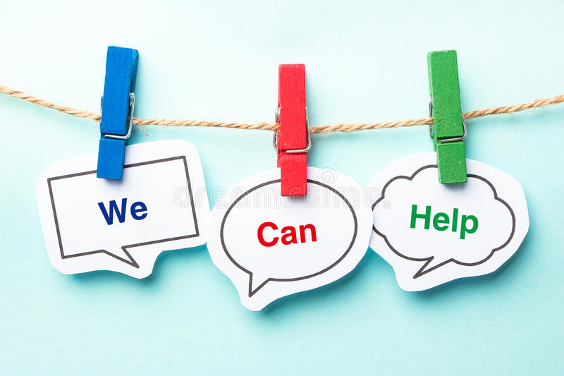 We can help. Bubble with clip hanging on the line with blue background