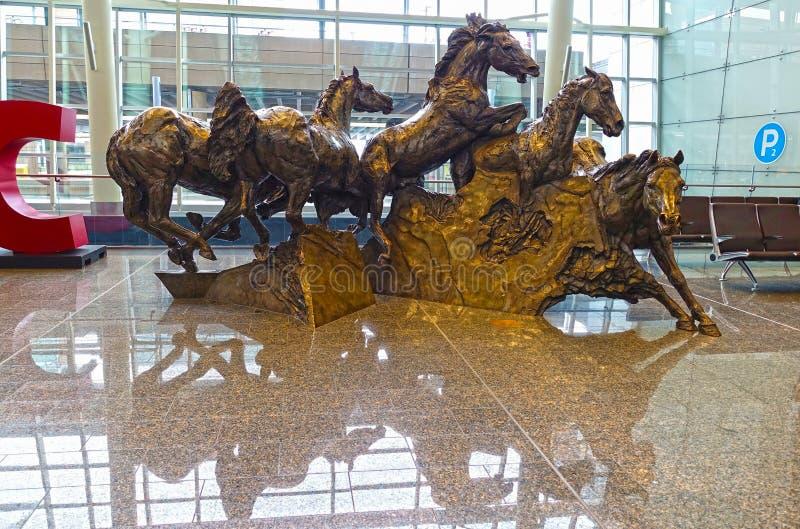 Horses sculpture, close-up, Calgary Airport, Canada royalty free stock photo