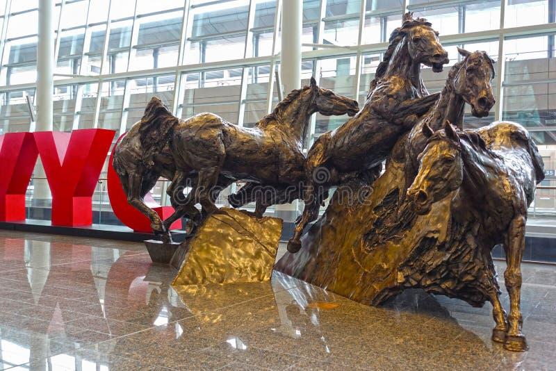 Horses sculpture, close-up, Calgary Airport, Canada royalty free stock image