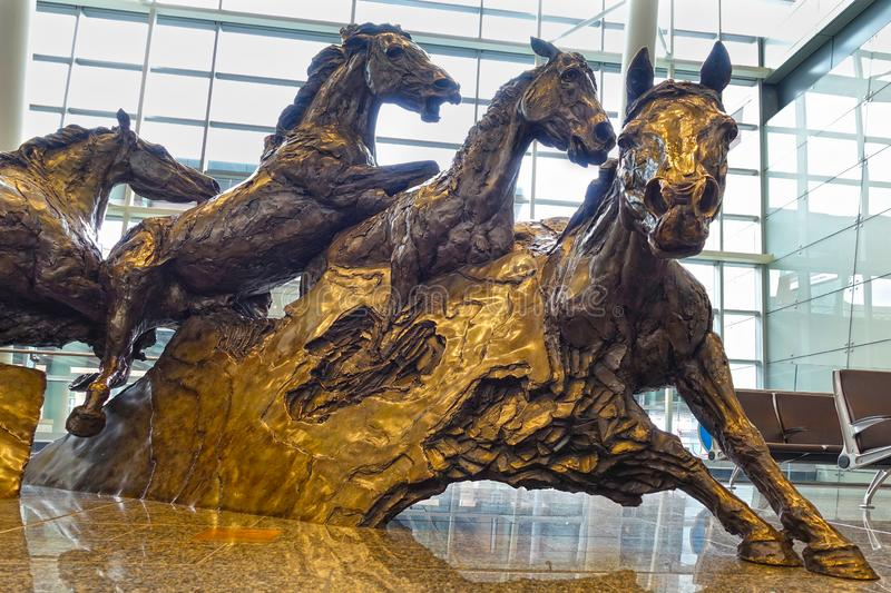 Horses sculpture, close-up, Calgary Airport, Canada royalty free stock photography