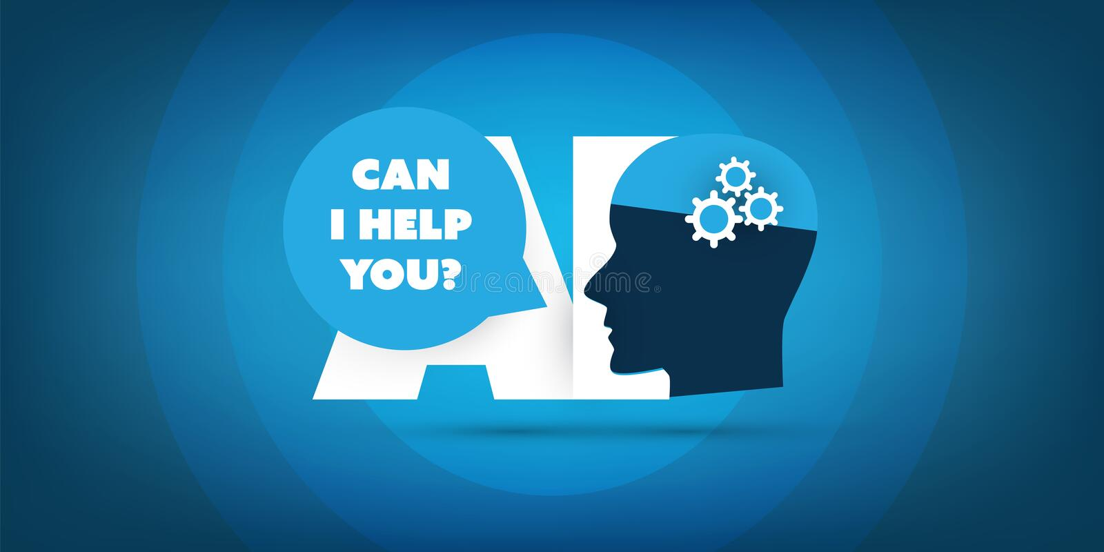 Can I Help You? - AI Assistance, Automated Support, Digital Aid, Deep Learning and Future Technology Concept Design. Abstract Colorful Machine Learning royalty free illustration