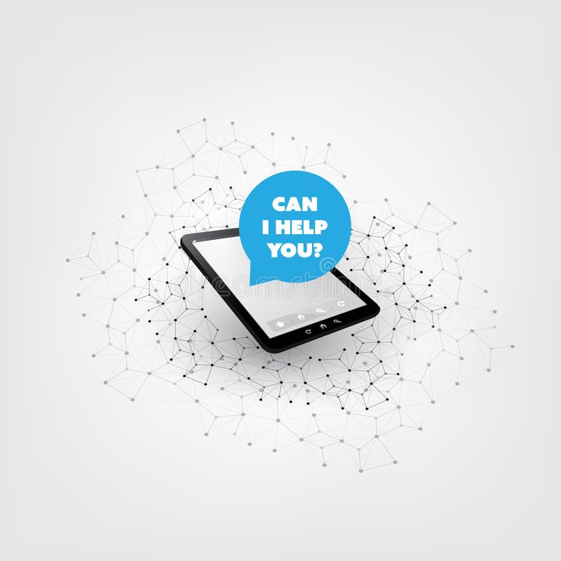 Can I Help You? - AI, Voice Assistant, Speech Driven Mobile User Interface on Tablet PC, Digital Networks Concept Design royalty free illustration